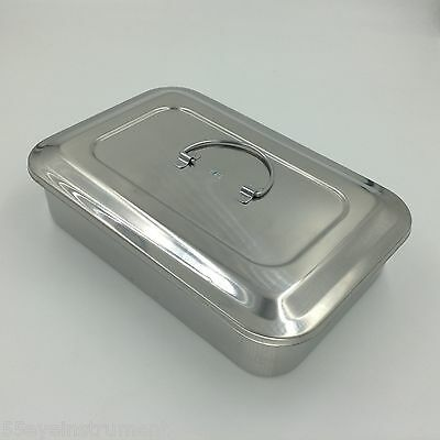 Stainless Steel Instrument Tray Case 9 With Lid Sterilization Tray Surgical