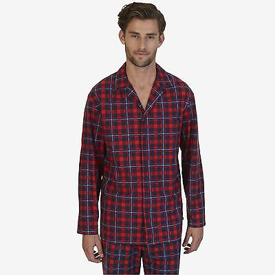 $65 NAUTICA Mens PAJAMAS Fleece L/S LOUNGE SHIRT Red Blue Plaid SLEEPWEAR M