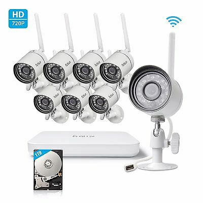 Funlux 1080p 8CH NVR 8 1.0MP IP Network Outdoor Wireless Home Security System 1T