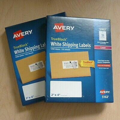 2500 Ct. Avery 5163 White Shipping Labels 2 X 4 Laser Trueblock Bonus Packs