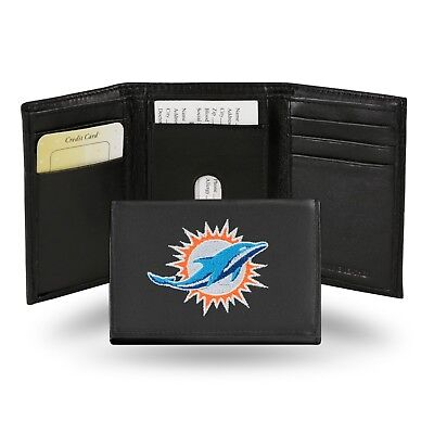 Black Miami Dolphins Wallet - Miami Dolphins NFL Team Logo Embroidered Leather TRIFOLD Wallet