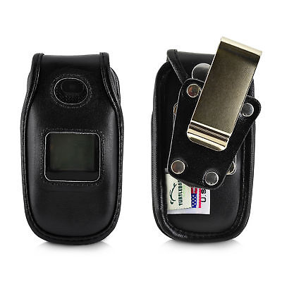 Phone Case Removable Belt Clip - ATT ZTE Z223 Phone Black LEATHER Fitted Belt Case Metal Removable Belt Clip