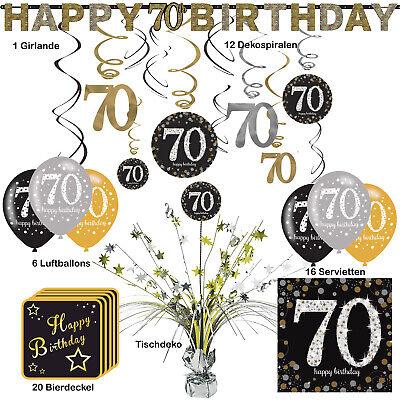 56 tlg. Partyset zum 70. Geburtstag Dekopaket Tischdekoration Partyzubehör Deko