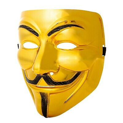 Neu Gold 1-10 Guy Fawkes Anonymous Gesichtsmasken Hacker V Vendetta Kostüm ()