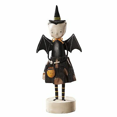 Bethany Lowe Cute Vampire Witch Going Batty Girl Figurine Retro Halloween Decor