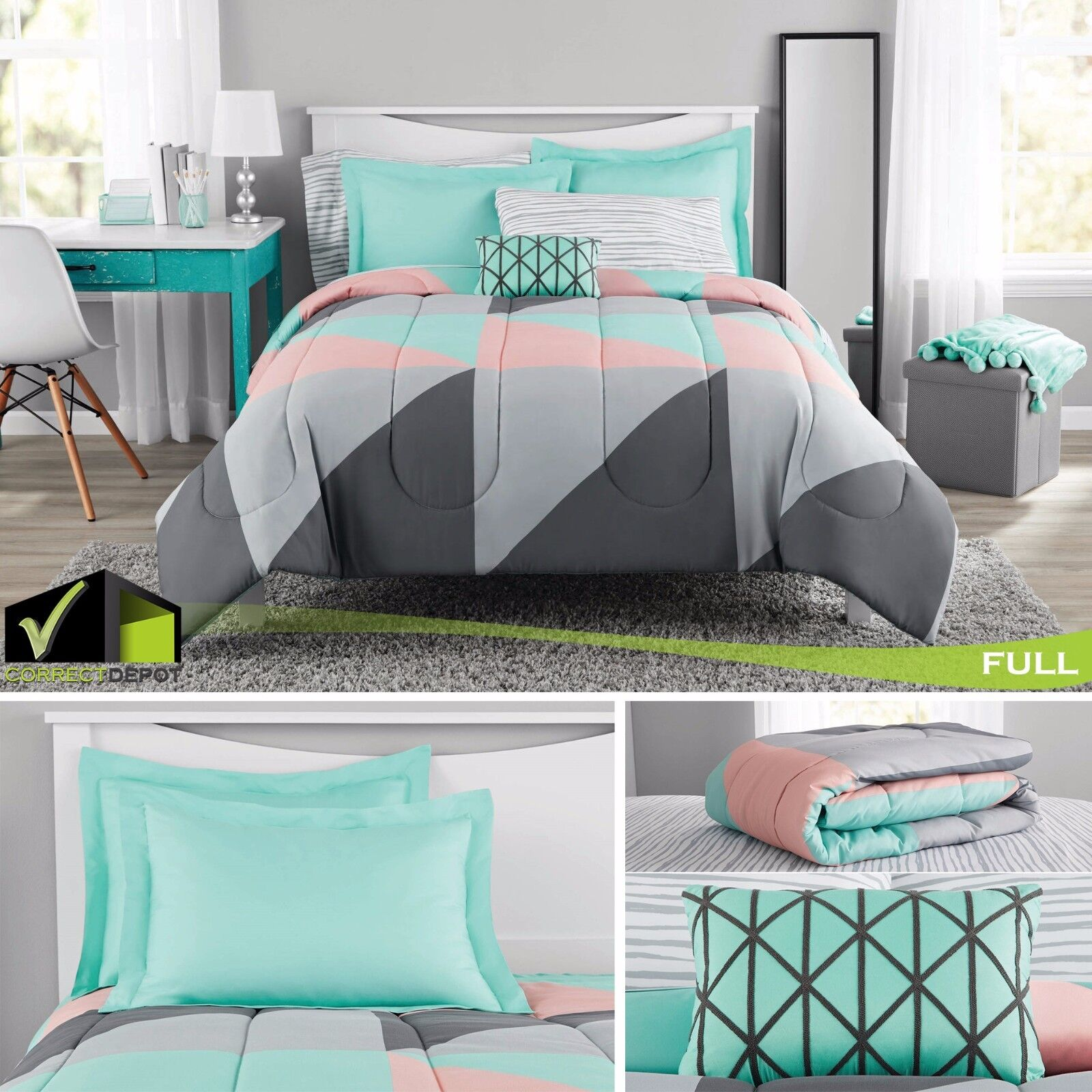 8 Pcs Full Size Bedding Set Gray And Teal Bed In A Bag Comforter Sheets Cases Ebay