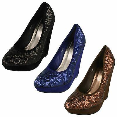 Ladies Spot On High Wedge Sequin Platform 'Court Shoes' - Sequin Platform Wedge