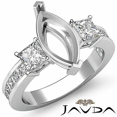 3 Stone Diamond Wedding Ring 14k White Gold Princess Marquise Semi Mount 1.1Ct