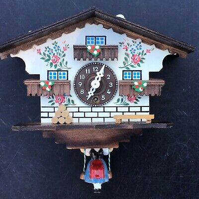 Swinging Girl Doll Wood German Clock Black Forest Mechanical Wind-up Cottage 7""