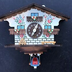 "Swinging Girl Doll Wood German Clock Black Forest Mechanical Wind-up Cottage 7"""
