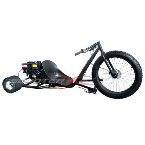 Drift Trike Gas Powered 6.5HP 3 Wheel Big Black Cart Go Kart Bike Motor Wheeler