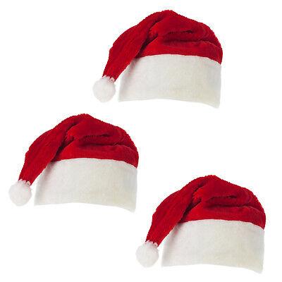 3x Weihnachtsmannmütze Plüschmütze Nikolaus Kostüm Weihnachtsfeier Karneval