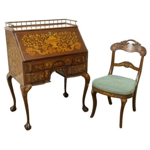 Antique Desk, Bureau, & Chair, Dutch Sypher & Co., Marquetry,  Mahogany, 1800s!!