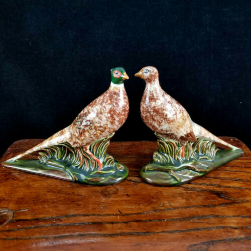 Vintage Ceramic? Holland Mold Pheasants Male & Female C.N.B Initials