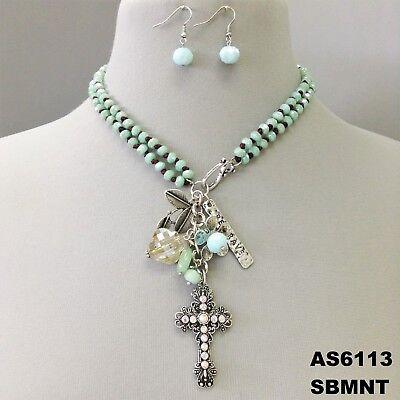 (Boho Style Silver Finish Cross Flower Charms Mint Beaded Necklace & Earrings)