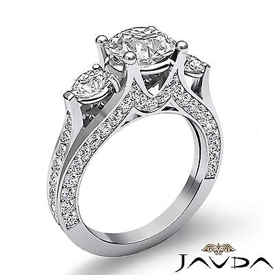 4 Prong Setting 3 Stone Oval Diamond Engagement Cathedral Ring GIA H SI1 2.3 Ct 1