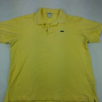 Mens Lacoste Alligator Yellow Short Sleeve Golf Polo Shirt Eur 6 Sz Large