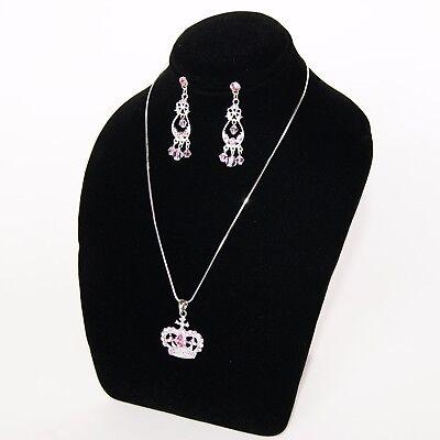 8hx7w Black Velvet Jewelry Display Bust Necklace Chain Pendant Earring Ja10b1