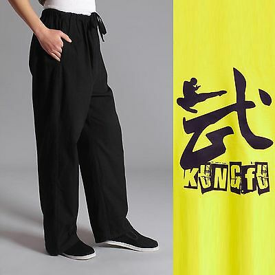 Jackie Chan Costume (Traditional Chinese style Jackie Chan Kung Fu Pants Trousers Tai Ji Unisex)