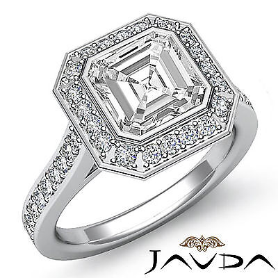1.5ct Asscher Diamond Engagement Halo Pave Ring 14K White Gold I VS2 Clarity GIA