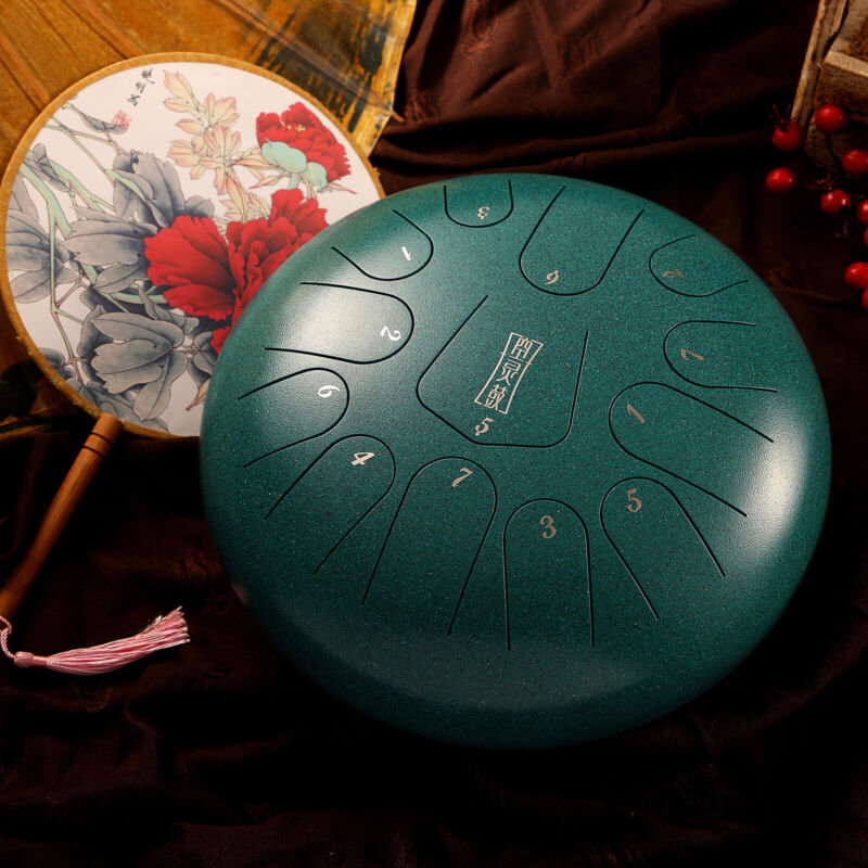 "12"" Steel Tongue Drum Handpan Drum 13 Notes Red Meditation with Bag Music Book"