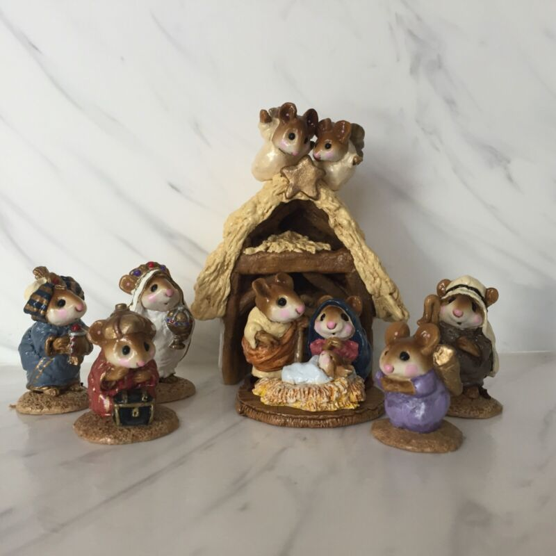 Wee Forest Folk Christmas Pageant 7 pieces Nativity Annette Petersen 1980