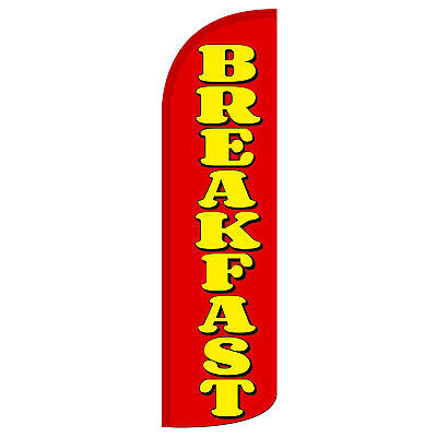 Windless Swooper Feather Flag Tall Banner Sign 3 Wide Breakfast Red Yellow
