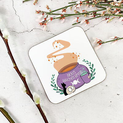 Personalised Witches Brew Wooden Drinks Coaster  Mat Birthday Gift - Witches Brew Drink