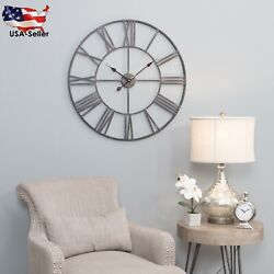 30 Metal Wall Clock Large Round Crafted Iron Gray Rustic Industrial Home Decors