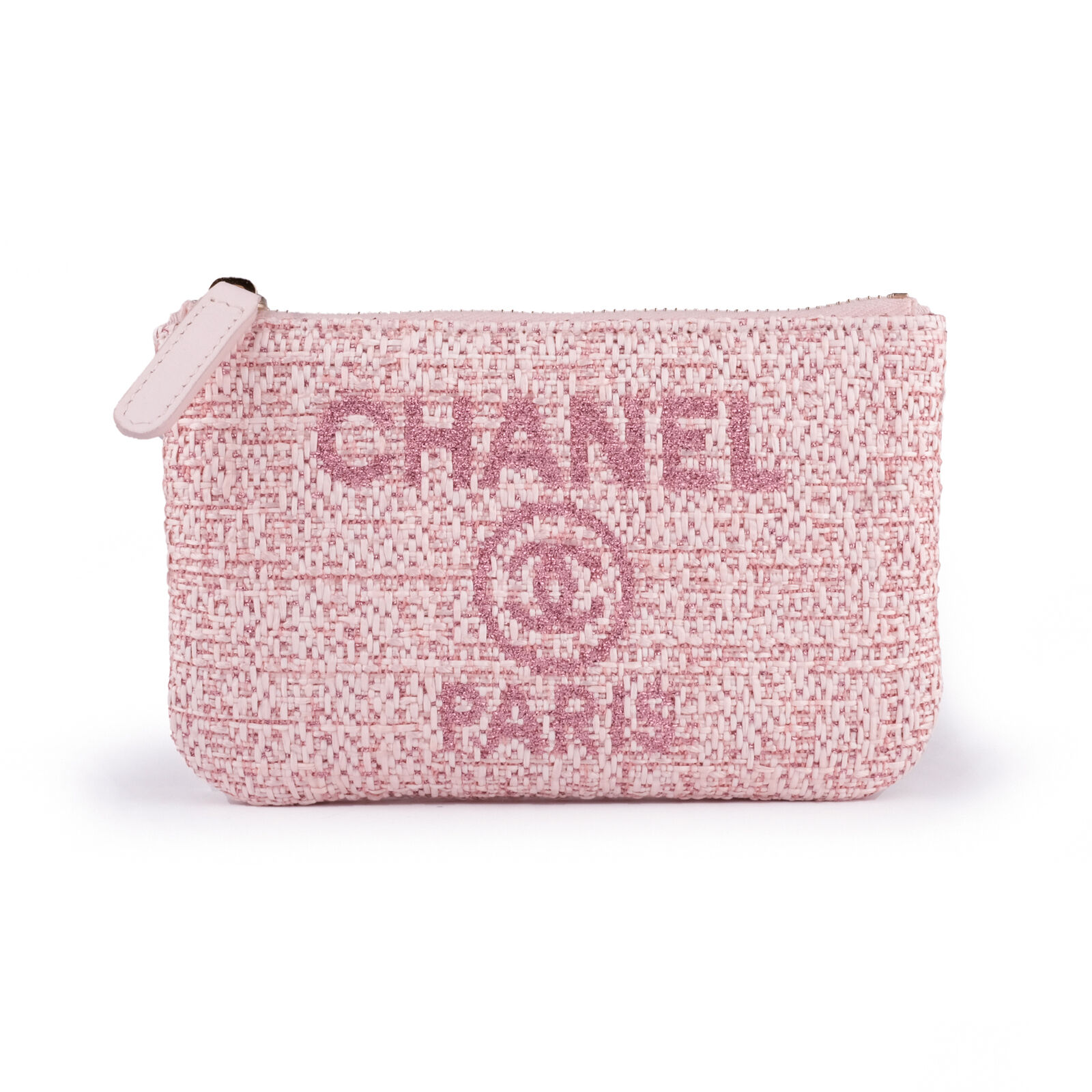 New 2019 Chanel Deauville Pink Tweed Pouch Zip Wallet Card Holder