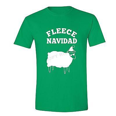Mens Fleece Navidad Ugly Christmas Sweater Feliz Sheep Winter Fun T-shirt (Fleece Navidad Shirt)