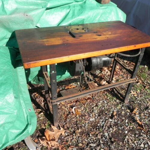 VINTAGE/ANTIQUE - COMMERCIAL SEWING MACHINE TABLE - NO MOTOR