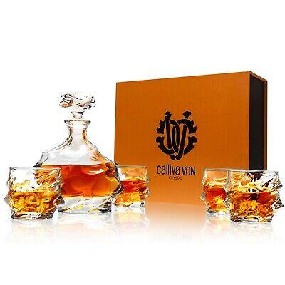 Kristall Whisky Karaffe Set großer Likör Glas Dekanter + Gläser 5-tlg