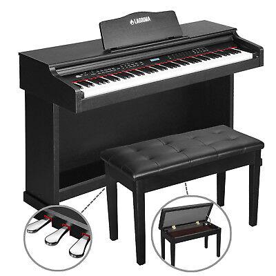 88 Key LCD Digital Electric Piano Keyboard w/ Bench 3 Pedal Board Cover Adaptor