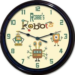 Robot Robots Gears Personalized Wall Clock Android Child Nursery Custom New 10