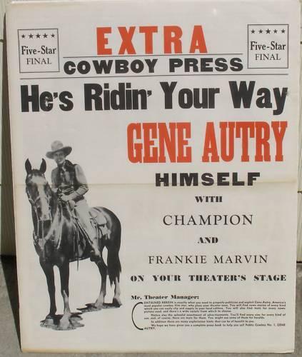 GENE AUTRY PRESS KIT POSTER, 1930
