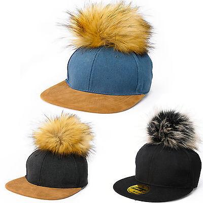 Men Women Snap back Cap Suede Peak Large Pom Pom Hat Baseball Hat Fun Party  LA ()