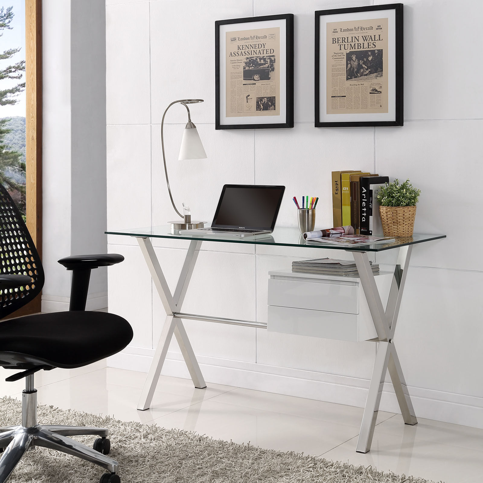 Details About Modway Stasis Contemporary Modern Glass Top Office Desk In White