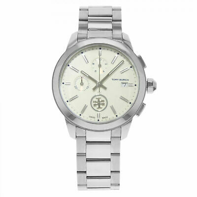 Tory Burch (TB1252) Collins Chronograph Cream Dial Silver Stainless Steel Watch