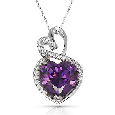 4.20 Carat Halo Amethyst Double Heart Gemstone Pendant & Necklace14K White -