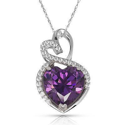 4.20 Carat Halo Amethyst Double Heart Gemstone Pendant & Necklace14K White Gold