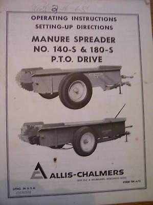 Vintage Allis Chalmers Oper Manual-140-180 Pto Spreader