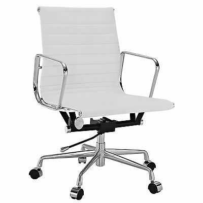 Eames Office Chair Ribbed Mid Low Back Aluminum Group Reproduction Leather White, used for sale  USA