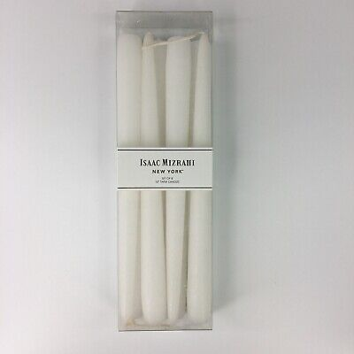 """ISAAC MIZRAHI NEW YORK WHITE SET OF 8 10"""" OVERDIPPED TAPERED CANDLES"""