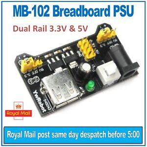 MB-102 Breadboard Power Supply Module (PSU) YwRobot. Dual rail 3.3V and 5V
