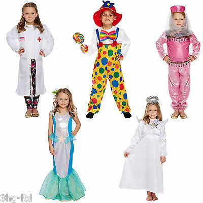 Girls Fancy Dress Up Child Costume Angel Clown Bollywood Doctor Mermaid 4-9 - Angel Dress Up Costume