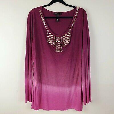 Inc Macys Womens Purple Embellished Stud & Rhinestone Tie Dye Top LS Plus Sz 0X