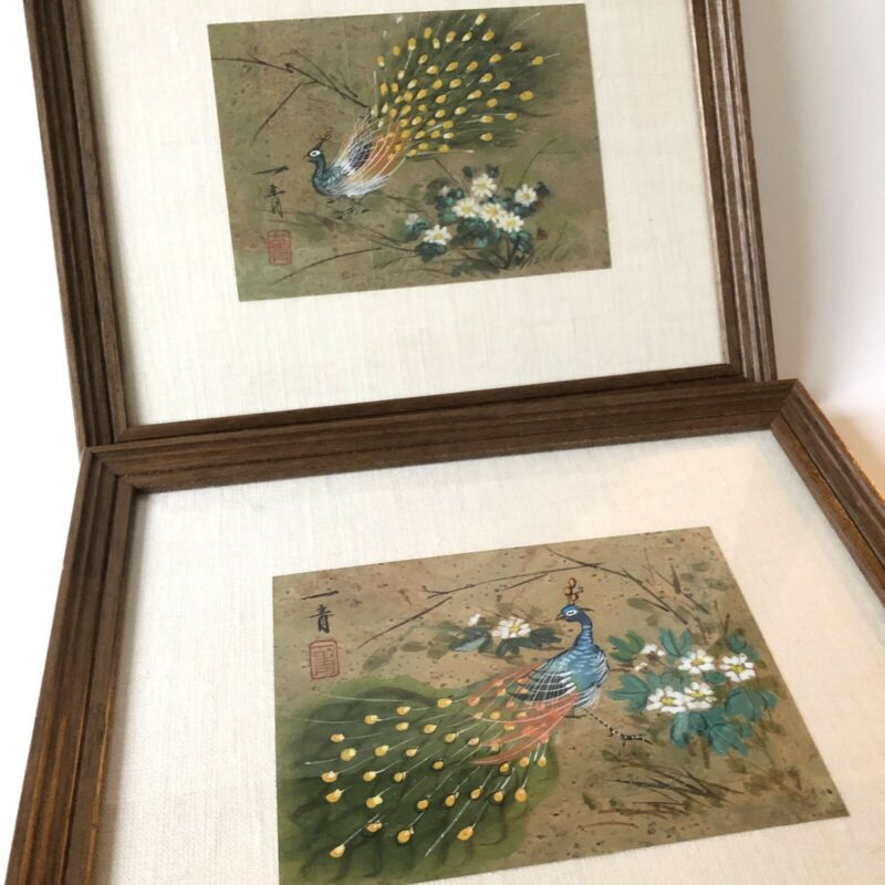 Pair Chinese Hand Painted Watercolor Birds Peacock on Cork Paper Signed Framed