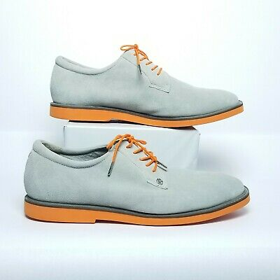 G/Fore Gallivanter Nimbus Size 11.5 Grey Orange Suede Spikeless Golf Shoes SM133