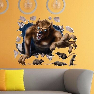 Werewolf Rats Scary Halloween Wall Crack Decal Kids Bedroom Vinyl Sticker Gift
